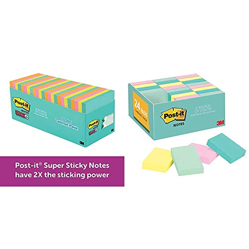Post-it Super Sticky Notes, Neon Colors (Orange, Pink, Blue, Green), Large Pack, Standard Size, Double Adhesion, Recyclable, 3 in x 3 in & Notes, Soft Pastel Colors, Small Notes, 1.5 in x 2 in