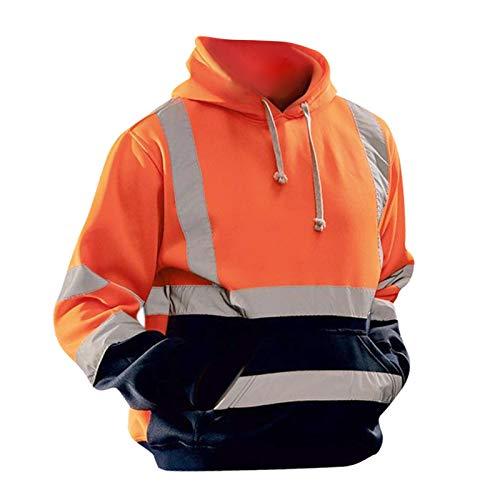 FITYLE Sudadera con Capucha de Seguridad de Alta Visibilidad con Bolsillo y Tiras Reflectantes, Jersey con Capucha para Trabajo en Carretera para Hombre - Naranja XL