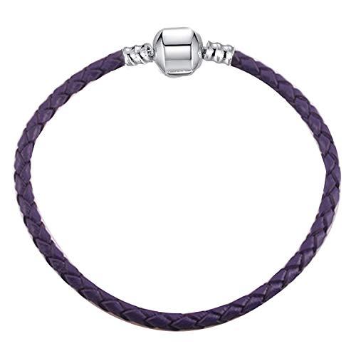 Pulsera Brazalete, Joyeria Regalo, Dropshipping 9 Colors Leather Chain Charm Bracelets with DIY Fine Bracelet For Women Girls Jewelry Gift Purple 18cm