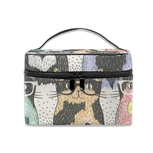 Hipster Cute Cats Wear Lunettes de Soleil Travel Case Organizer Portable, Multifunction Case Toiletry Bags
