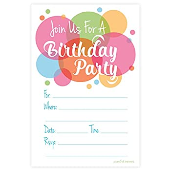 Happy Dot Birthday Party Invitations - Fill In Style  20 Count  With Envelopes