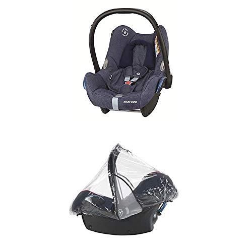 Maxi-Cosi Cabriofix, Babyschale Gruppe 0+ (0-13 kg), Sparkling Blue, ohne Isofix-Station + Regenschutz für Autositze Pebble, Cabriofix und Citi SPS
