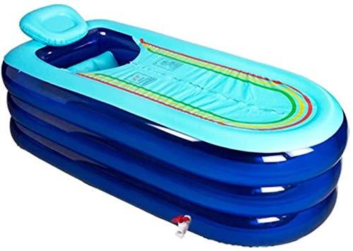 WOHAO Piscina Infantil Bañera Inflable, Inflable Aumentar Alargar bañera de hidromasaje Engrosamiento Plegable bañera baño Barril (Color: Azul) (Color : Blue)
