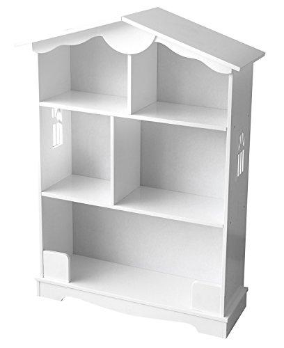 Leomark Bücherregal Holzhaus Kinderzimmer  Wandregal Haus Weiß  Regal in Haus-Form Dekorativer Setzkasten  Haus aus Holz mit 5 Fächern