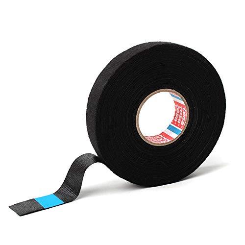 tesa Pet Cinta Adhesiva de Tela no Tejida (15 mm x 15 m), Color: Negro, para mazos de Cables domésticos o automotrices
