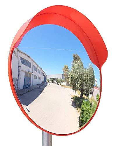 ECM-60o Espejo de seguridad, convexo y flexible, de 60 cm de diámetro, para garantizar la seguridad en calles y en tiendas, con soporte de fijación ajustable para poste de 48 mm.