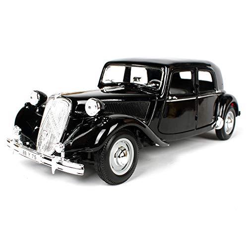 LUCKYCAR 1952 Citroen 15CV-Simulationslegierungsfahrzeug,Der Kofferraum/Motorraum kann geöffnet Werden,Aktivitätstür,Verhältnis 1:18, Fertigproduktmodell, 26 cm, schwarz