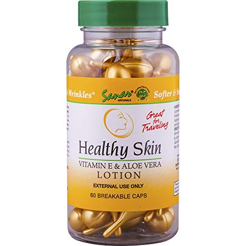 Healthy Skin Aloe Vera Gel and Vitamin E Oil Moisturizer Body Lotion for Women - Natural Skin Care, Soothing Hand Cream, Moisturizing Lotion, 60 Gold Capsules