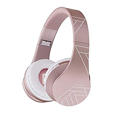 Bluetooth Headphones Over Ear, PowerLocus Bluetooth Headphone Rose Gold, Wireless Headphones Foldable, Hi-Fi Stereo, Soft Memory Foam Earmuffs, Built-in Mic & Wired Mode for iPhone,Android,PC,Laptops by Powerlocus