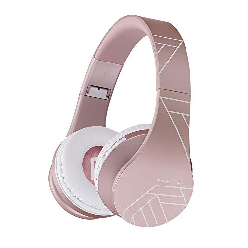 PowerLocus P1 – Auriculares Bluetooth inalambricos de Diadema Cascos Plegables, Casco Bluetooth con Sonido Estéreo con Conexión a Bluetooth Inalámbrico y Audio Cable para Movil,PC,Tablet (Oro Rosa PL)
