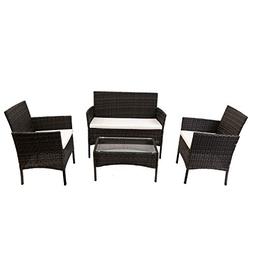 Rattan Furniture Set for Outdoor Garden Indoor Conservatory 4 Pcs Set Rattan Sofa Chairs, Rattan Table with Tempered Glass Coffee Table Waterproof PE Wicker Durable Steel Frame (Black)