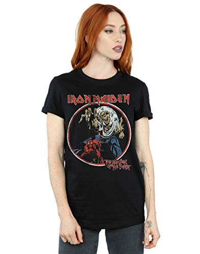 Absolute Cult Iron Maiden Mujer Number of The Beast Camiseta del Novio Fit Negro Large