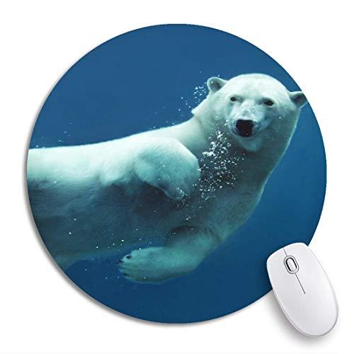 Rundes Mauspad Blau Schwimmender Eisbär Unterwasser Blick auf die Kamera Rutschfeste Gummibasis Mausmatte Gaming Mousepad für Computer