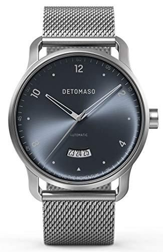 DETOMASO VIAGGIO Automatic Silver Blue Herren-Armbanduhr Analog Quarz Mesh Milanese Uhren-Armband Silber