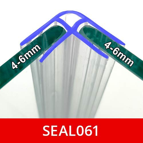 SEAL061 Vertikale Eckdichtung für Dusch- oder Badewannentür, passend für 4, 5 oder 6 mm Glas, 2 m lang