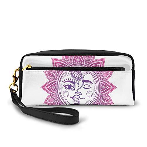 Pencil Case Pen Bag Pouch Stationary,Ethnic Vintage Floral Design Heavenly Bodies Oriental Celestial Elements,Small Makeup Bag Coin Purse
