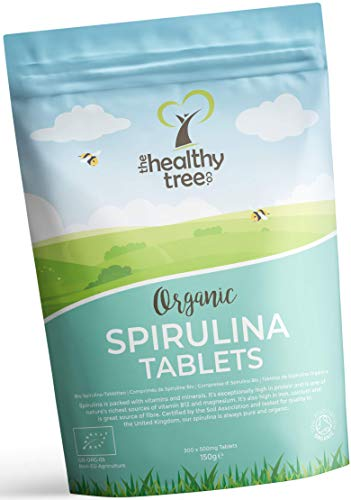 Organic Spirulina Tablets by TheHealthyTree Company - High in Amino Acids, Vitamin B12, Magnesium, Protein, Iron and Calcium - UK Certified Easy Swallow Pure Spirulina Tablets - 300 x 500mg (150g)