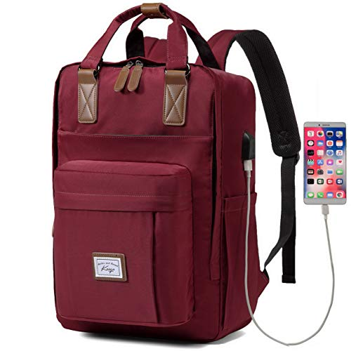 Backpack for Women, Kasgo Water Resistant Classic School Backpack 15.6 inch Laptop Rucksack with USB Charging Port Bookbag Casual Daypack for Teenagers Girls College Travel Work (Burgundy)