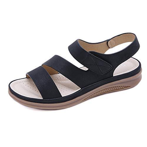 ZAPZEAL Damen Offene Sandalen Gladiator Sandalen für Frauen Flat Heel Sandalen mit Verstellbaren Knöchelriemen Anti Slip Bohemian Strand Sandalen,Schwarz 39 EU