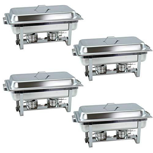 Lot de 4 plats à chafing Dish avec récipient 1/1 GN de 65 mm de profondeur - Chauffe-plats empilables avec poignées carrées