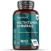 WeightWorld Multivitamine und Mineralien - Mit 27 aktiven Vitaminen & Mineralstoffen - 1 Jahr Vorrat mit 365 Tabletten - Geprüfte & Natürliche Inhaltsstoffe - Vegetarische Multivitamin Tabletten