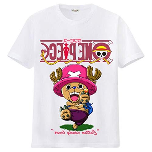 SAFTYBAY New One Piece Anime Merchandise Shirt, One Piece Manga Tshirt for Men Women Kids, Luffy Zoro Chopper Sanji T-Shirts (21-White,S)