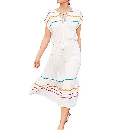 LPER T-Shirt Senza Maniche da Donna T-Shirt Swing Casual Abiti Copri-Costumi da Bagno Bianchi ups