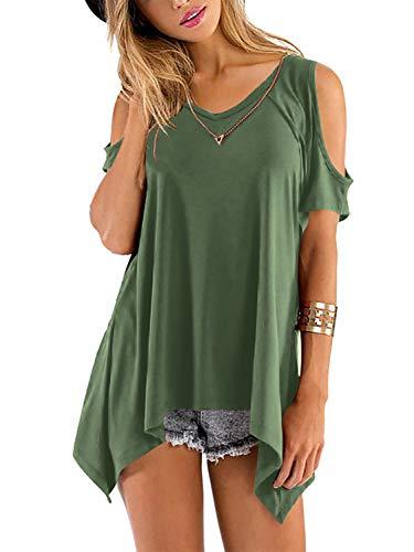 Beluring Damen Top Kurzarmshirt Asymmetrisch Solide T Shirt V Neck Langshirt Oberteil Armeegrün 2XL