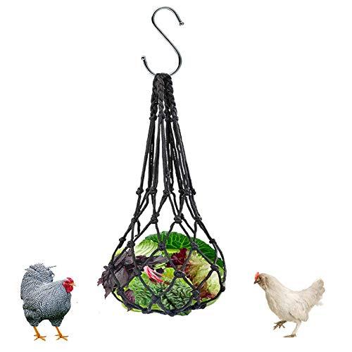 X-zoo Comedero para heno de conejo, comedero de animales pequeños para pollo, conejo, pájaros grandes, comedero de malla colgante para heno, pincho de verduras, fruta