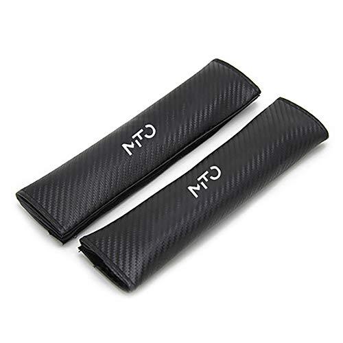 Wlkjhty 2 Piezas Almohadillas para Cinturón de Seguridad Fibra de Carbono para Alfa Romeo Mito, con Emblema, Almohadillas Protectores de Coche Hombro