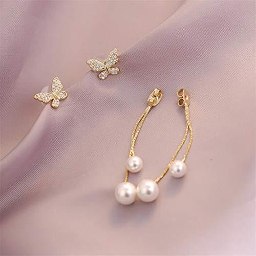 #N/A Señora imitación perla colgante mariposa pendientes temperamento salvaje mariposa pendientes pendientes cristal elegante borla pendientes joyería accesorios
