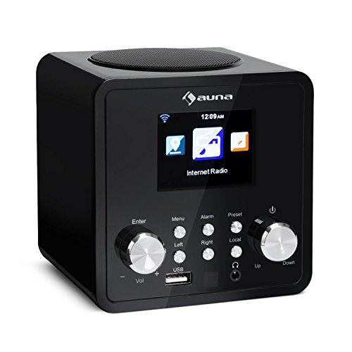 auna IR-120 - Internetradio, Digitalradio, WLAN-Radio, USB- und AUX-Anschluss, Wecker, Sleep-Timer, Wetteranzeige, Fernbedienung, Retro-Design, Display, schwarz