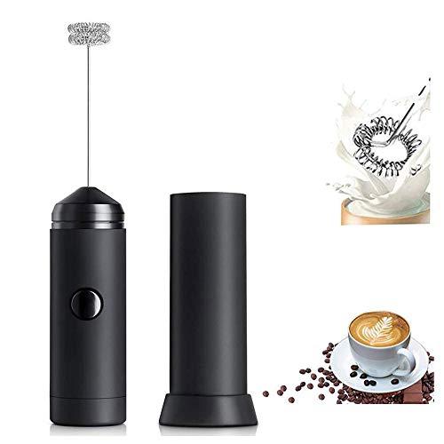 ミルク泡立て器 ミルクフォーマー ハンドヘルド 電動泡だて器 電動牛乳 ミキサー 牛乳 卵 コーヒー ミルク ミニコーヒー攪拌機 ステンレス製 2つの攪拌ヘッド付き