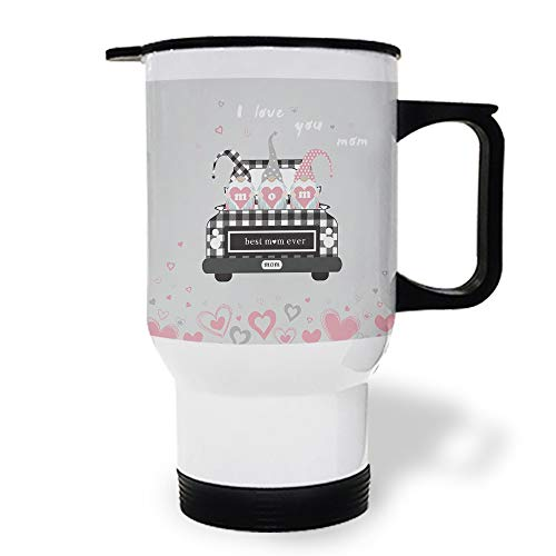 15 OZ Stainless Steel Car Cup with Handle, Gnomes Best Mama Ever on Mom Truck Travel Coffee Mug Cup Heated Thermos for Heating Water, Coffee, Tea Milk, Gift
