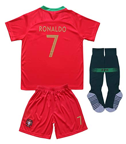 FPF 2018 Portugal #7 Home Red Cristiano Ronaldo Kids Soccer Football Jersey Gift Set Youth Sizes (Burgundy, 12-13 Years)