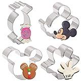 Iindes Juego de cortadores de Galletas para niños de 4 Piezas - Cabeza de Mickey Mouse, Cara Lateral de Mickey Mouse, Palm and Candy Biscuit Formas para Cortar Pasteles