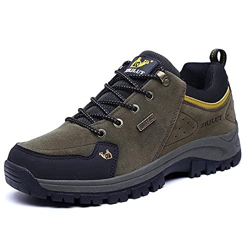 LECYGNB Zapatillas de Trekking Hombre Impermeable Zapatillas de Senderismo Al Aire Libre Botas de Montaña Zapatillas de Camping Antideslizantes Sneakers Verde 45