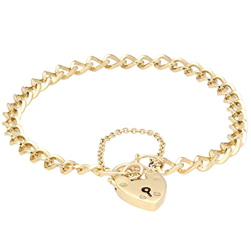 Jollys Jewellers Women's 9Carat Yellow Gold 7.5' Curb Bracelet w/Heart Clasp (5mm Wide & 12x18mm)