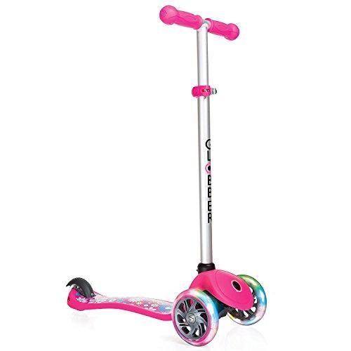 Globber Primo Fantasy Lights Scooter - Kleine Blumen - Rosa (pink)