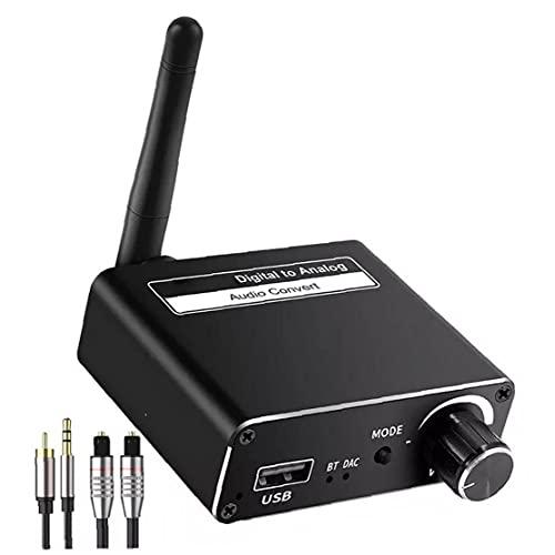 Digital al convertidor analógico coaxial óptico para estéreo 3.5mm adaptador de salida de audio Bluetooth Receptor Transmisor