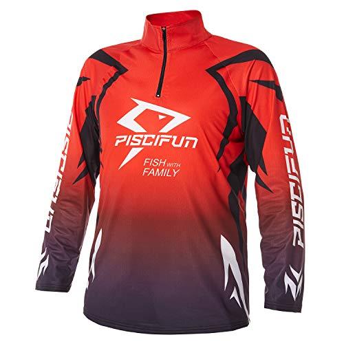 Piscifun Performance UPF Long Sleeve Fishing T-Shirt-Sun Protection Clothing Fishing Jersey L Red
