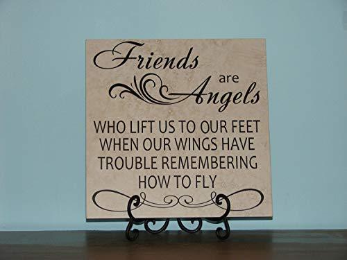 Ced454sy Vrienden zijn Engelen Moeders Vaders Zusters Broers Decoratieve Tegel Plaque teken zeggen