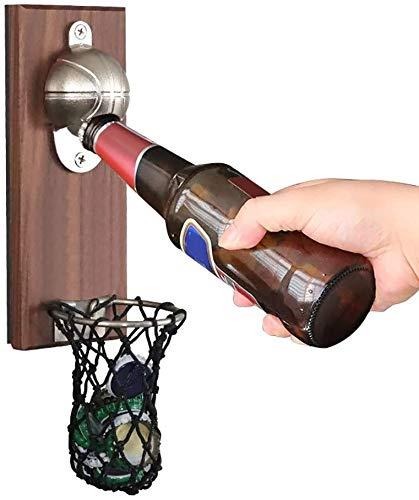 Abridor de botellas de baloncesto con tapa de pared con imán de hierro fundido de madera vintage, regalo ideal para baloncesto, amantes de la cerveza, regalo fresco para la barra de cocina