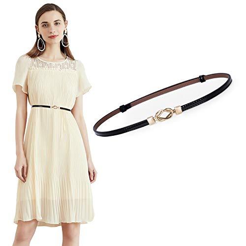 JasGood Damen Leder Slim Taillen Gürtel Einstellbar dünner Gürtel mit ineinandergreifender Schnalle für Kleid, Schwarz, unter 95cm Taillen