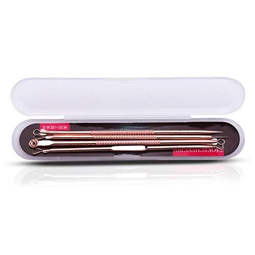 DGdolph 4pcs / Set Double tête Aiguilles Blackhead Remover Pimple Acné Salon Beauté Kit Set Or Rose