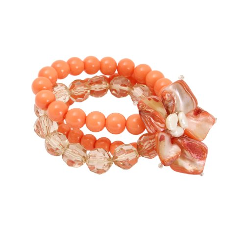 Bedazzled-Bracciale rigido con perline corallo, con motivo a fiore, in confezione regalo