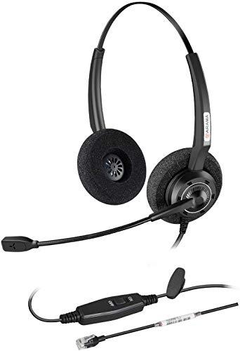 Arama Telefon Headset with Noise Cancelling Mikrofon RJ9 Headset für Yealink SIP T41S T42S T46S T48S Grandstream GXP1625 GXP2160 GXP2170 Avaya 1608 9608G Cisco Panasonic KXT IP-Telefone (AD200Y)