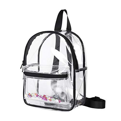 ASSR Mochila resistente transparente, mochila escolar de PVC con borde negro, mochilas impermeables para conciertos, deportes, estadios, viajes