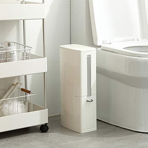 FAKUANG smalle prullenbak badkamer prullenbak met wc borstel afvalbak vuilniszak houder plastic wrijven Bin vuilnisbak 3 in 1 6L White Set