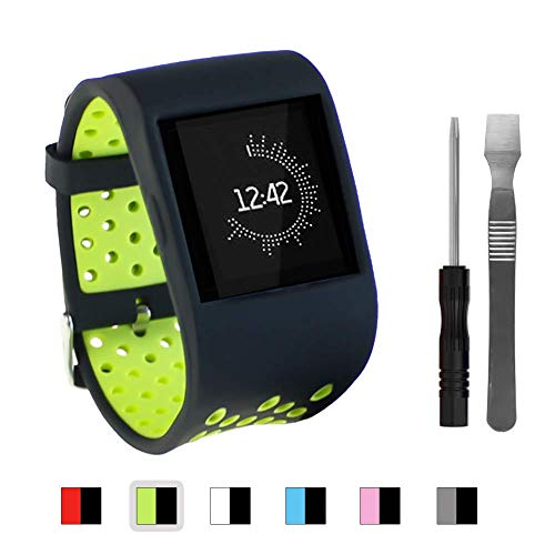 Sibode Compatible with Fitbit Surge Replacement Strap Bands, Silicone Accessories for Fitbit Surge Watch Fitness Tracker Wristband WatchBand Wrist Band Women Men, Black Green